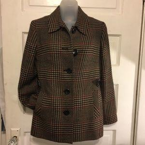 Talbots 6 Wool Blazer Brown/Blk Houndstooth Plaid